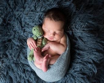 Crocodile Knit Doll - Amigurumi - Stuffed Animal - Alligator - Baby Gift - Photography Prop - Plushie