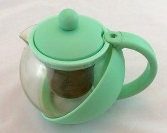 Vintage Teapot in Aqua, Single Serve Tea Pot