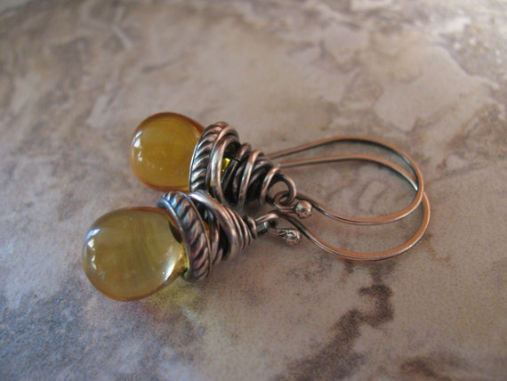 Sterling Silver and Gold Yellow Czech Glass Earrings Handmade/Hand Forged  Dangle Earrings-Toniraecreations