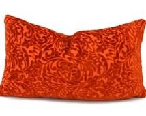 SALE! Orange Cut Velvet Lumbar Pillow Cover, Paisely Velvet Throw Pillow Cover, 10x18