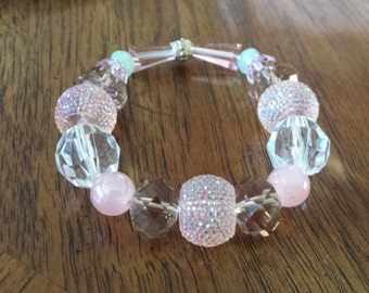 Crystalized beads bracelet in Peach combo,Stretch