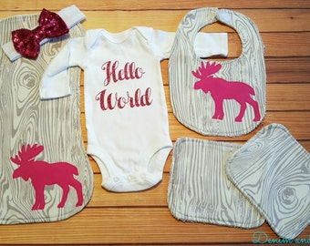 Forest Wood Moose Themed Baby Girl Going Home Outfit Baby Shower Gift Set- Burpcloth, Bib, Onesie, 2 washcloths
