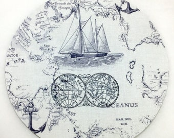 Ship at Sea Mouse Pad / Computer / Office Decor / Coworker Gift / Home Decor / Office Supplies / Teacher Gift / Sailboat / Nautical / Anchor