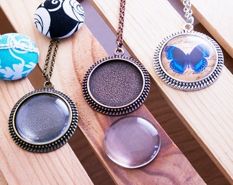 3- DIY Craft Kits - 30mm Round Beveled - 1.25 inch Blank Bezel Setting - 1.25 inch Glass Dome Insert - Matching Chains - Lilly Ds