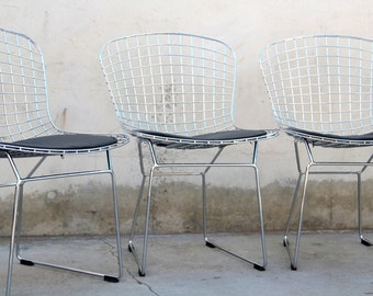 Set of 2 Chrome Wire Bertoia Style Side / Dining Chairs