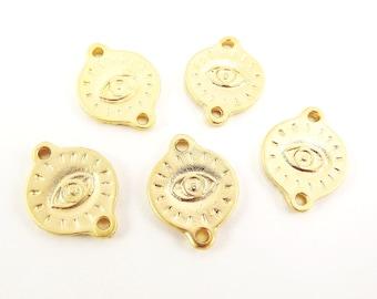 5 Engraved Evil Eye Pendant Charm Connectors - 22k Matte Gold Plated