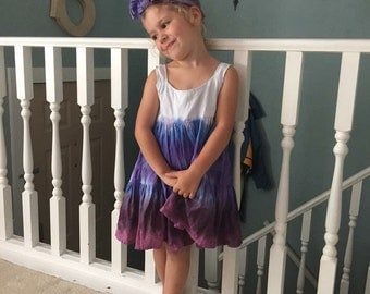 Custom tie dye girls flowy dress ( sizes 4T, 6, 8)