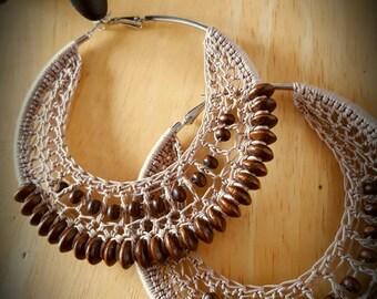 Beaded Crochet Hoop Earrings