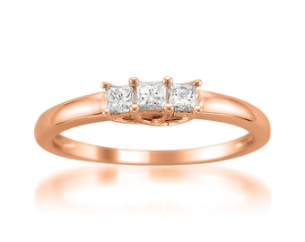 14k Rose Gold Princess-cut 3-Stone Three-Stone Diamond Engagement Wedding Ring (1/4 cttw, H-I, I1-I2)