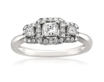 14k White Gold Princess-cut & Round Diamond Three-Stone Engagement Wedding Ring (1/2 cttw, G-H, SI1-SI2)