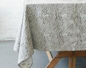 Grey Branch- Cotton Tablecloth- Hand Block Printed