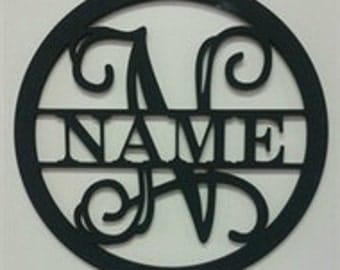 Circle Frame Family Name, Unfinished Framed Monogram, Wooden Wall Decor