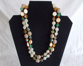 Vintage Beaded Multi Color Necklace // 99