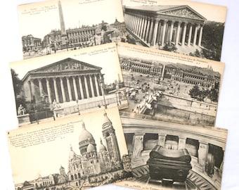 Paris Postcard Set, Six 1920s Paris Postcards, Unused Postcards, Black and White Postcards, Tourist Postcards, French Souvenir Cards