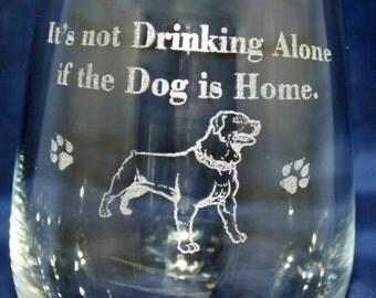 Set of 2 Stemless Glassware- Dog Glassware-Rott Glassware- Etched Wine Glass-Customized Wine Glasses- Dog Etched Wine Glasses