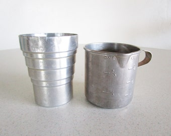 Liquid Measuring Cups Aluminum Vintage One Cup Set of Two