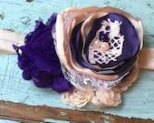Peach & Purple Fabric Flower Headband, Newborn Headband, Baby Girls Headband, Peach Headband, Purple Headband, Hair Bow, Satin Lace Flower