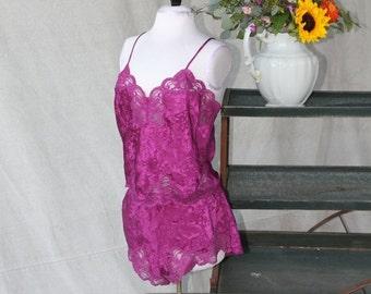 SEXY 50% OFF SALE Fuchsia Purple/Pink Lingerie Set with Lace Trim by Deena size Medium, Camisole Tank Top & Tap Dance Under garment pantie