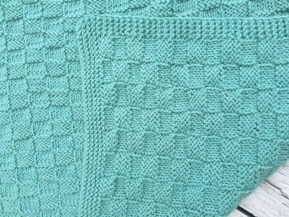 Handknit Throw Soft Sage Color Sage Childrens Blanket