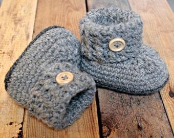 Grey baby booties crochet, grey