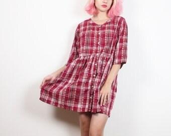 Vintage 90s Dress Burgundy Embroidered Plaid Mini Dress Soft Grunge Dress Babydoll Dress 1990s Dress Flannel Shirt Style Dress M Medium L