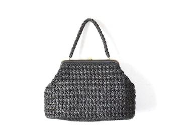 Black Purse, LARGE Straw Purse, Black Bag, Black Straw Bag, Vintage bag, 1960s Bag, 60s Bag, 1950s Bag, 50s Bag, Woven Purse, Woven Bag