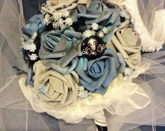 CORPSE BRIDE Wedding Bouquet-Tim Burton-Emily's Bouquet,Unique,Bridal Bouquet,Blue/Grey/white/Black,Wedding Flowers,Unique Wedding Theme