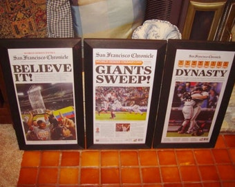 FREE SHIPPING 3 Rare San Francisco Giants original newspapers custom framed World Series 2010 2012 2014 front page sections