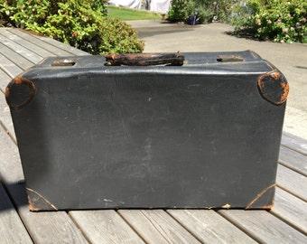 Luggage, Suitcase, Garment Bg, Black,  1910's - 20's