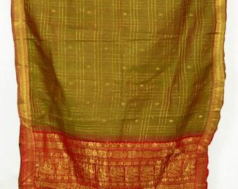 Dual Shade Handwoven Pure Cotton Zari Brocade Checks Fabric India Vtg Saree Sari TP3922