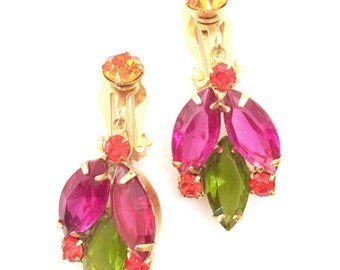 Multi Colored Rhinestone Earrings, Fuchsia Olivine Open Back Marquise Stones, Coral & Orange Round Stones, Gold Tone Metal, Dangle Earrings