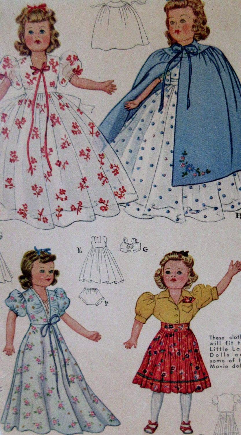 vintage 1941 doll clothes sewing pattern mccalls 918 size