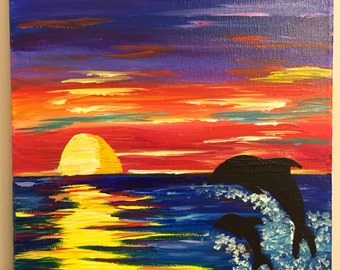 Sunset Dolphin Painting on 11 x 14 Canvas