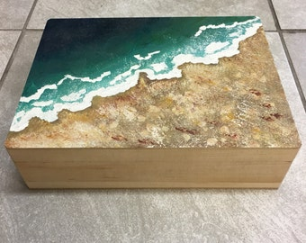jewelry box keepsake box Hand painted 3.36x11.96x9.19 Beach