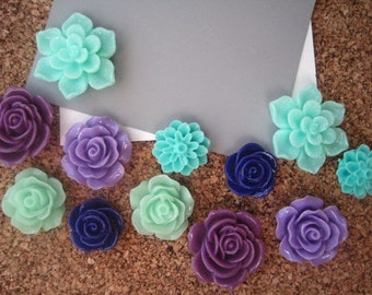 Pretty Thumbtack Set, 12 pc Flower Pushpins, Purples and Greens, Office Supply, Stocking Stuffer, Small Gift, Housewarming Gift, Dorm Room