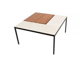 Marble Top Coffee Table Indoor Outdoor Table with Planter Box