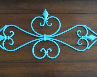 Large Fleur de lis Metal Wall Hanging / Scrolled Iron Wall Decor / Metal Wall Art / Turquoise or Pick Color / Shabby Cottage Chic Decor