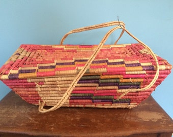 """Vintage Woven Colorful Basket with Handles, 21"""""""