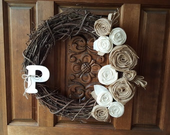 """Burlap and Felt Grapevine 18"""" Wreath-Chose your initial/monogram-Fall, Mother's day,Spring,Summer, Shower, wedding gift. All season, neutral"""