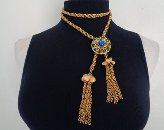 Delightful Vintage PAT.PEND. Double Rolo Link Chain Removable Pendant Bolo Slide Blue Green Aquamarine Crystal Gold Lariat Y Tassel Necklace