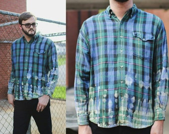 Bleched tie dye plaid 90s flannel
