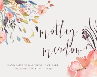 Motley Meadow  Watercolor  Clipart Files - High Res Transparent PNG - Hand Painted Digital Scrapbook elements - Instant download