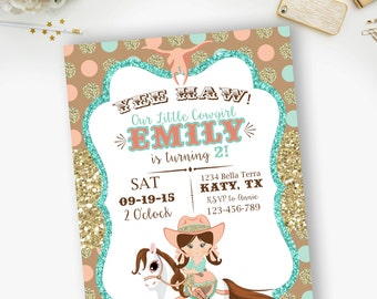 PRINTABLE-  Cowgirl, Gold Glitter, Mint and Coral, Birthday Invitation- YOU PRINT
