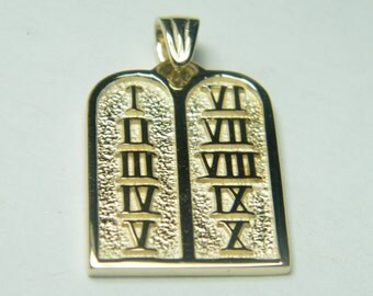 14kt yellow gold 10 commandments pendant