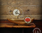 Vintage Mid Century Modern Schaefer Beer Light Up Boat Desk Clock Breweriana Advertising