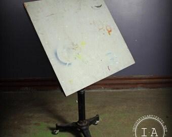 Vintage Industrial Karlo Cast Iron Adjustable Rolling Artists Drafting Table