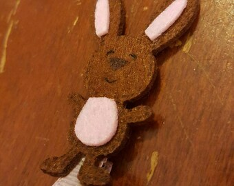 Easter bunny clip, brown bunny for girls