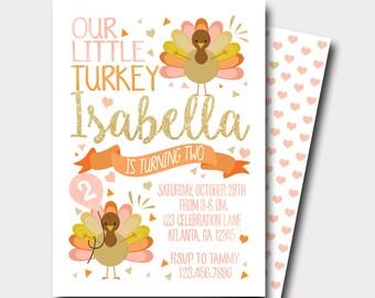 Turkey Birthday Invitation   Thanksgiving Birthday Invitation   Fall Birthday Invitation   Our Little Turkey   Peach and Gold