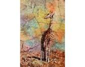 Batik painting on rice paper of giraffe.  Watercolor print.  Watercolor painting giraffe.  Art Giraffe painting.  Watercolor batik giraffe