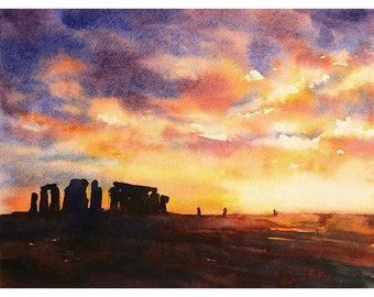 Watercolor painting of Stonehenge ruins at sunset in the English countryside- UK.  Stonehenge painting.  Watercolor Stonehenge art